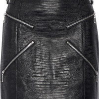 Alexander Wang - Zip-embellished lizard-effect leather mini skirt
