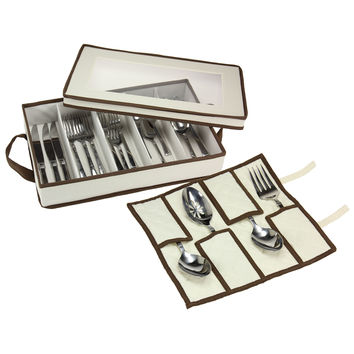5 Compartments Flatware Storage Chest With Pouch for Serving Utensils