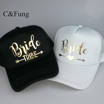 Trendy Winter Jacket C&Fung Bride Tribe Bachelorette Snapback Trucker Hat Cap Team Bride gold letters Arrow bride to be bride tribe baseball hats AT_92_12