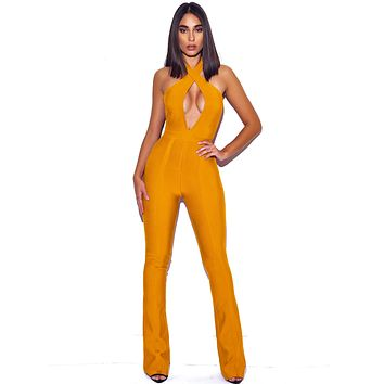 Orange Criss Cross Neckline Bodycon Bandage Flare Jumpsuit