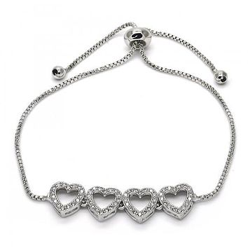 Rhodium Layered 03.155.0035.10 Fancy Bracelet, Heart Design, with White Micro Pave, Polished Finish, Rhodium Tone