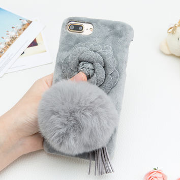 Fashion Warm Fuzzy Phone Cases For iphone 7 7 Plus Funda Cute DIY Case Rabbit Fur Ball Flower Floral Tassel Cover Hard PC Shell