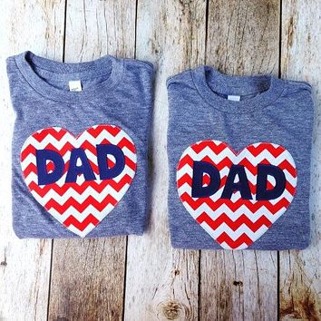 Chevron Sewn Applique Heart Shirt, Valentine's Day Fathers Day Heart shirt, Dad LOVE, daddy gift, Father's Day