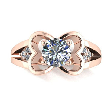14K Gold Natural Diamond And Cubic Zirconia Heart Engagement Ring Promise Ring