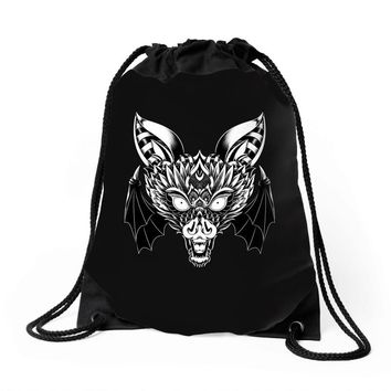 bat ornate Drawstring Bags