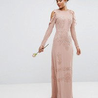Maya Tall Cold Shoulder Sequin Maxi at asos.com