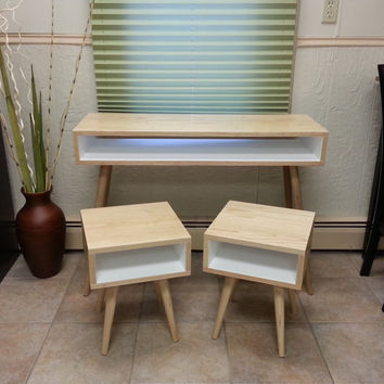 Mid Century Inspired Ash Apartment Set. Two Nightstands and Small Desk with Painted Interior. Solid Wood Set. Modern Furniture Set