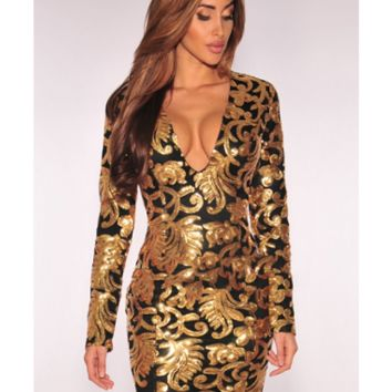 Gold and Black Sequins Bandage Dress