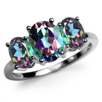 4.02ct. 3-Stone Mystic Fire Topaz 925 Sterling Silver Ring