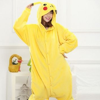 Kid Adult Pikachu Kigurumi Onesuit Women Animal Costume Fancy Soft Anime Pokemon Cosplay Onepiece Child Boy Girl Winter Jumpsuit