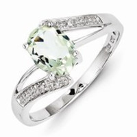 Sterling Silver w/Rhodium Green Amethyst & Diamond Ring