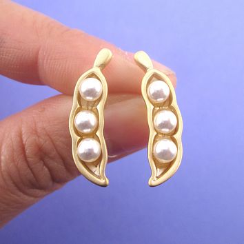 Three Pearl Peas in a Pod Gold Peapod Shaped 925 Sterling Silver Stud Earrings