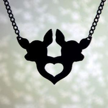 Love You Deer II twin fawn heart necklace in by FableAndFury
