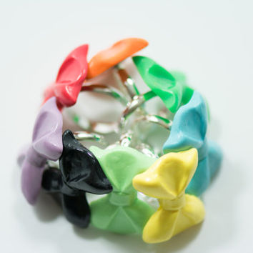 5 Random Colorful Bow Ring, Polymer Clay Ring, Bow Ring
