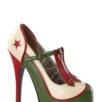 Teeze-43 - Cream-Olive Green Pu