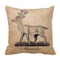 Deer Buck and Doe Burlap Rustic Wedding Couples