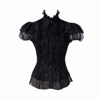 Black Short Sleeve Buttoned Blouse