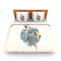 "Mat Miller ""Unbound Autonomy"" Abstract Lion Fleece Duvet Cover"