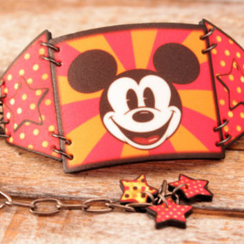 Mickey - Mouse - Bracelet - Cuff - link - Mickey Mouse - Vintage - Retro - Costume - Jewelry - Mickey Mouse - Shrink Plastic - Wearable Art