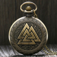 Vintage Triangle Valknut Norse Vikings Bronze Quartz Pocket Watch Necklace Chain Three Interlocking Fob Watch Friendship Gifts