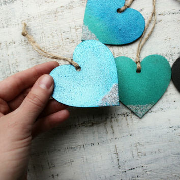 Sparkling wooden hearts Christmas ornaments Christmas decoration Christmas tree decor 4 colors