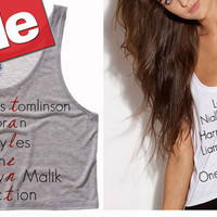 One Direction Band Members Names Talent Cropped Tank Top (Preorder)