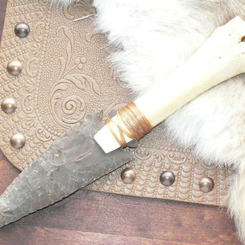 Large Flint Knapped Agate Stone Blade Arrowhead Knife Deer Bone Handle