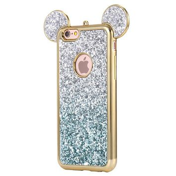 Glittery Bling Grediant Blue Micky Mouse Ears Phone Case For iPhone 7 7Plus 6 6s Plus 5 5s SE