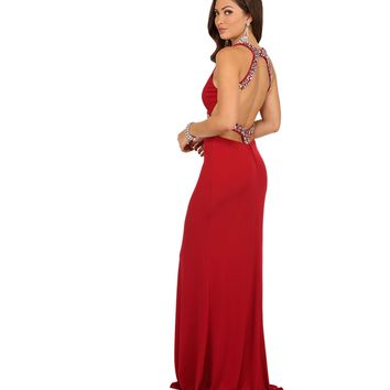 Pre-Order: Aria- Red Open Back Prom Dress