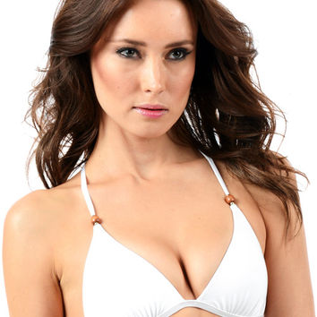 Voda Swim Envy Push Up Razor Back String Bikini Top in White