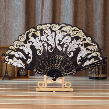 Hand Fans Silk Bamboo Gilding Gold Folding Dance Fan Home Wedding Decor Party Event Favors Gift Chinese Spanish  Style F808