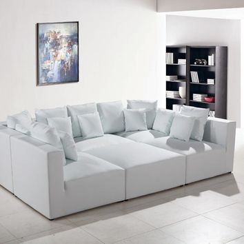 Divani Casa Modern White Bonded Leather Sectional Sofa