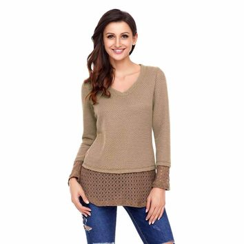 Tan Lace Sleeve and Hem Thermal Knit Sweater