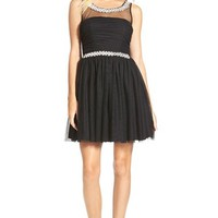 Junior Women's Way-In Embellished Illusion Fit & Flare Dress,