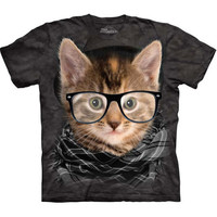 HIPSTER KITTEN Cat T-Shirt The Mountain Funny Face Nerdy Glasses S-5XL NEW