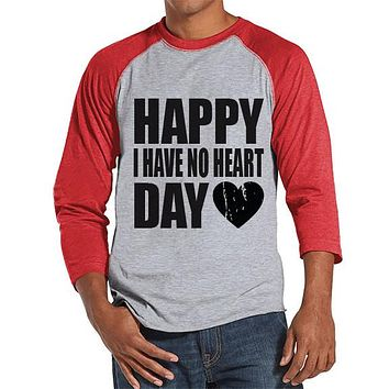 Men's Valentine Shirt - Funny Valentine Shirt - I Have No Heart - Happy Valentines Day - Anti Valentines Gift for Him - Red Raglan Shirt