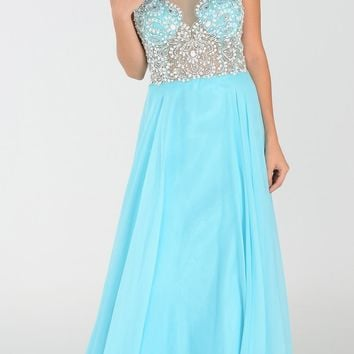 ON SPECIAL LIMITED STOCK - Poly USA 7350 Long Aqua Chiffon Prom Dress Sheer Bodice