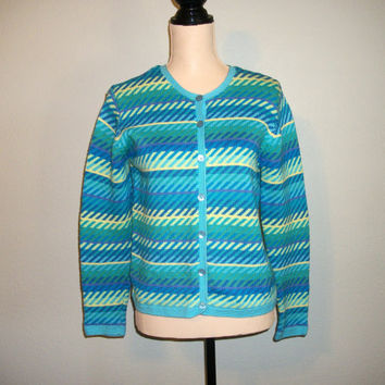 Small Cardigan Sweater Blue Green Striped Cardigan Talbots Petite Clothing Cotton Sweater Spring Sweater Preppy Sweater Womens Clothing