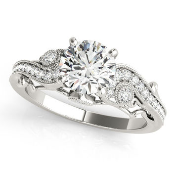 Vintage Style Diamond Setting Moissanite Center Engagement Ring - Seeds of Love