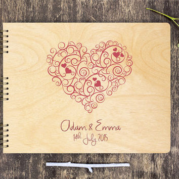 Wood Guestbook, Wooden Guest Book, Rustic Guest Book, Wood Guest Book, Heart Guest Book, Wedding Guest Book, Unique Guest Book, Personalize