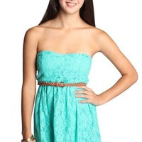 light green all over belted lace dress - debshops.com