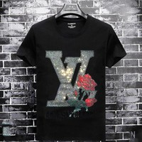 LV Louis Vuitton New fashion diamond letter floral couple top t-shirt Black