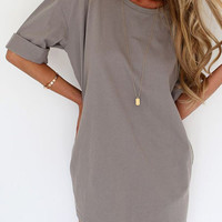 Gray Half Sleeve Tee Dress