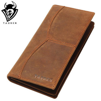Vintage  Leather Wallet Men Long Clutch Bag Leather Male Wallet Purse Coin Bag Money Clip Brown