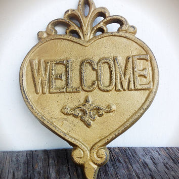 Ornate Heart Welcome Sign Wall Art - Metallic Gold - Rustic Shabby Chic Outdoor Decor