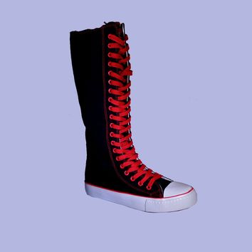 Womens Canvas Sneaker Punk Flat Tall Lace Mid Knee High Boot Skater Shoes