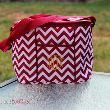 Monogrammed Garnet Maroon Chevron Cooler- Mississippi State= Bulldogs- Game day- Tailgate-Maroon- Crimson- Alabama
