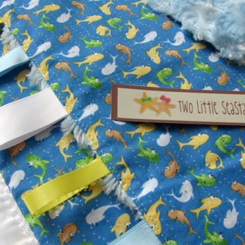 Dr. Suess Inspired Fish Themed Baby Quilt and Sensory Blanket Set