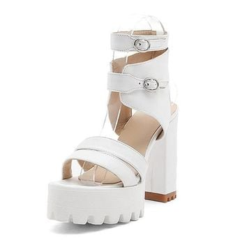 Summer Gladiator Women Sandals Sexy High Heels Cut-outs Female Sandals Open Toe Platform Ladies Shoes