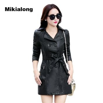 Mikialong 2017 Fashion Double Breasted Medium-Long Leather Jacket Women Motorcycle Coat Korean Bow Tie Black Suede Coat Female